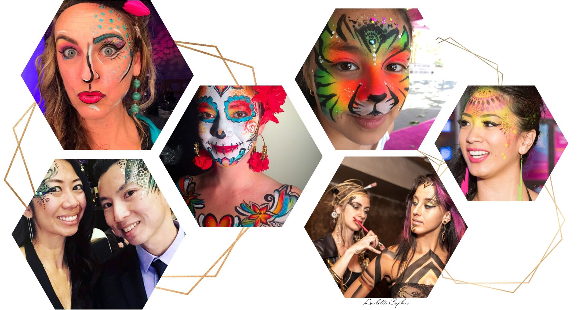 Audette Face Paint examples- mini hexagon gallery