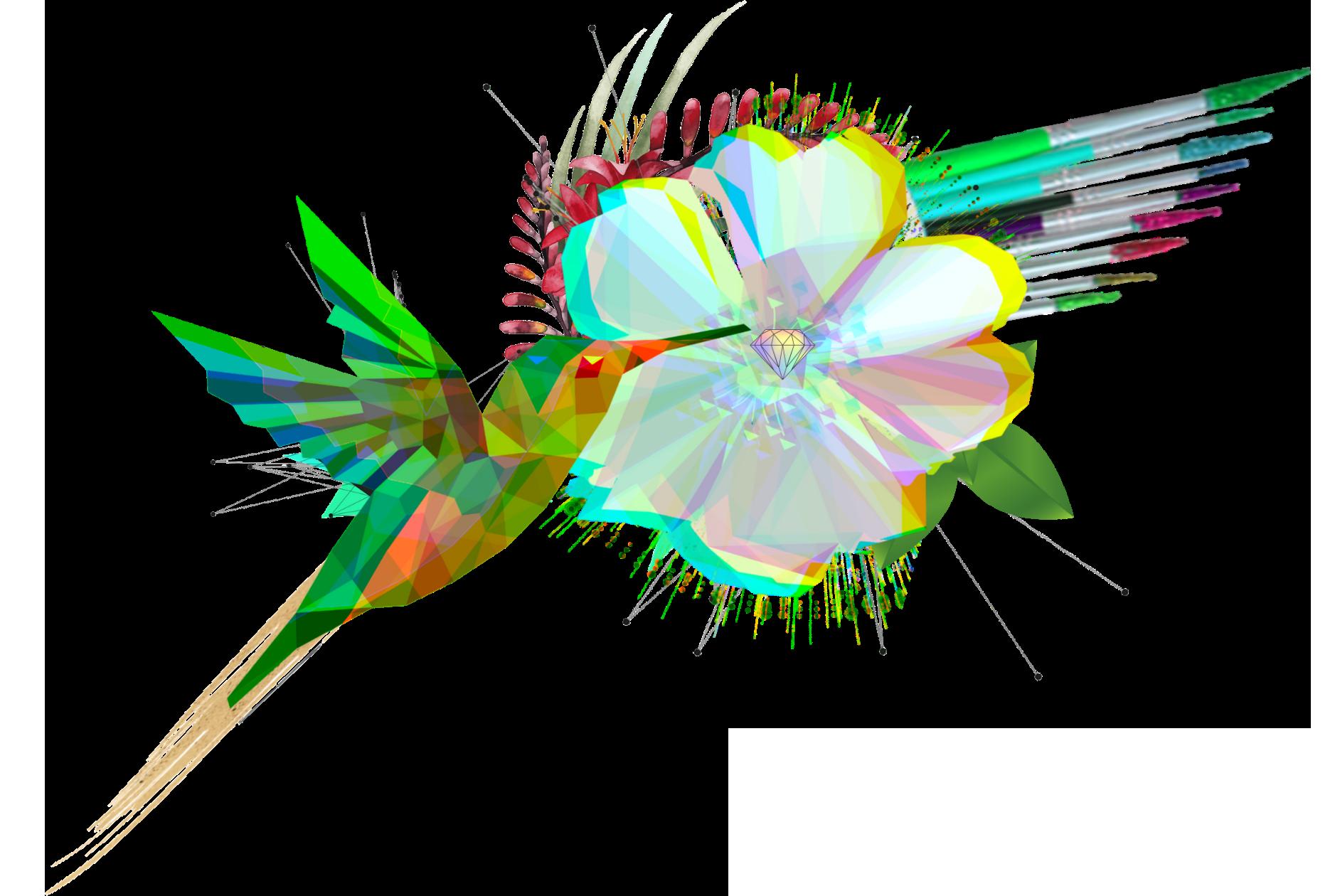 audette sophia hummingbird flower digital art
