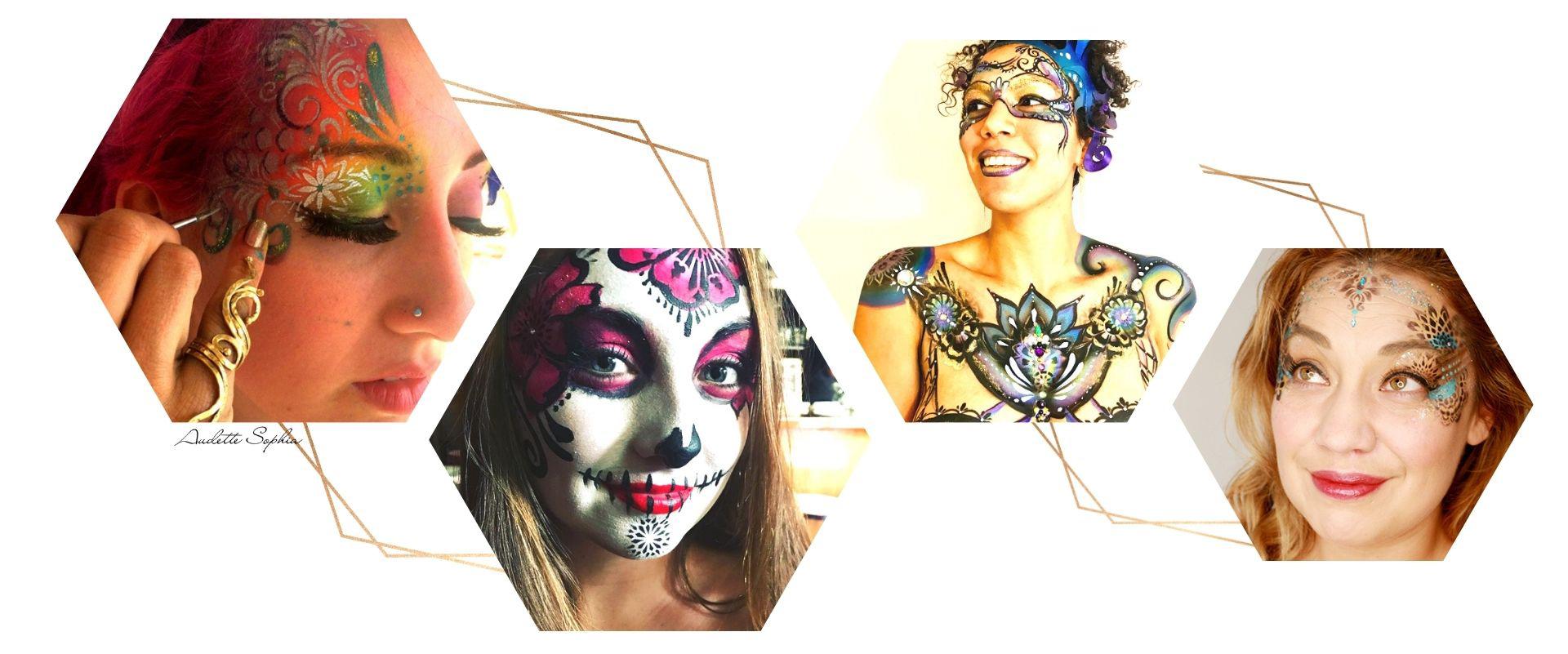 Audette Sophia face body art hexagons