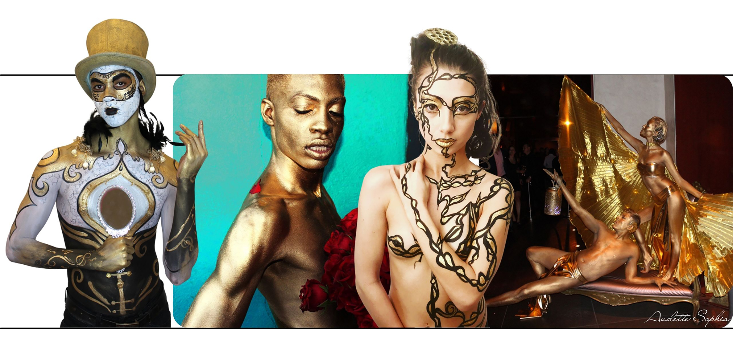 Golden Body Paint compilation by Audette Sophia  body painter in California