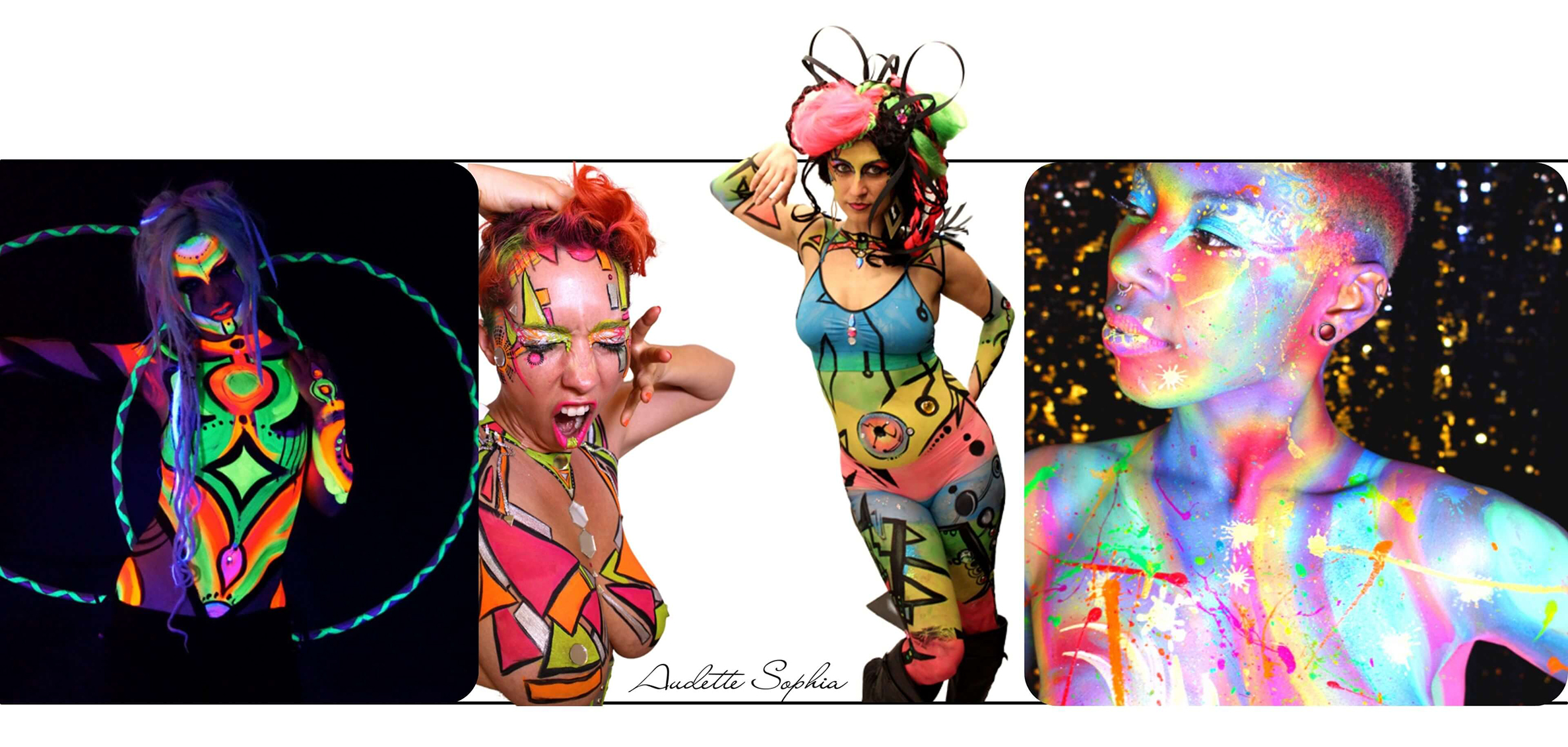Neon bright Body Paint compilation by Audette Sophia  body painter in California